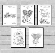 Harley Davidson Patent Set of 5 -motorcycle prints - Harley Poster - Harley Davidson Motorcycle - Harley Engine - Harley - Motorcycle, sp432 by STANLEYprintHOUSE  12.50 USD  This set comes with all 5 prints.  We use only top quality archival inks and heavyweight matte fine art papers and high end printers to produce a stunning quality print that's made to last.  Any of these posters will make a great affordable gift, or tie any room together.  Please ch ..  https://www.etsy.com/ca/..