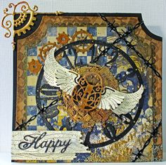 #cheeryld I thought this weeks card should show my Colour Comfort Zone and my creative style! Dies used: Clock w/Angel Wing (Steampunk Series) - B357; Lock and Keys (Set of 3) - B350; Wings (Steampunk Series) - B359; Steampunk Corner (Set of 2) Left & Right - B437; Gears (Set of 9) - B340; Happy (Set of 2) - B226; Barbed Wire (Set of 2) - B405; Old Barn Board (3 Dies) - B439; Coved Rectangle - XM-10; XM Scalloped Coved Rectangle - XM-11 http://www.cheerylynndesigns.com