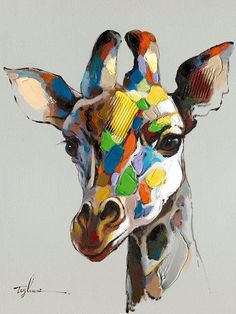 Part of a collection of oil paintings Raj is contemplating for arrival this fall. Like if you'd like to hang this colourful giraffe in your home!