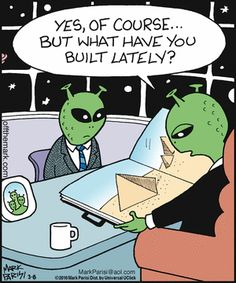 Off The Mark comics Science Cartoons, Science Humor, Funny Cartoons, Funny Comics, Funny Jokes, Hilarious, Alien Aesthetic, Aliens Funny, Memes