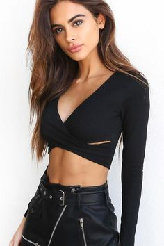 27646bb91c Black Crisscross V-neck Crop Top Womens Sexy Shirts Long sleeve Crop Top  Club Outfit