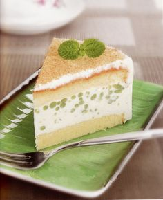 Cendol Cheese Cake (cendol is a popular Asian dessert mainly consisting of coconut milk  jelly noodles made from rice flour with green food coloring)