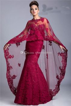 Burgundy Lace Floor Length Mermaid Sweetheart Luxury Evening Dresses Prom Dresses with Cape