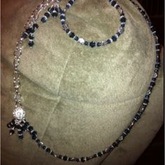 Three piece sterling silver plate with dark blue Swarovski crystals. $35.00 set