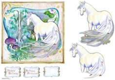 - A beautiful fairy unicorn is about to enter the enchanted garden. Decoupage the unicorn. Beautiful Fairies, Enchanted Garden, 3 D, Decoupage, Unicorn, Card Making, Card Designs, Fairy, Fantasy