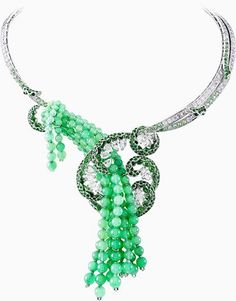 "Van Cleef & Arpels has us green with envy about the one-of-a-kind ""Etna"" necklace from the featuring diamonds, chrysoprase and green tsavorite garnets set in 18K white gold! More must-have jewels here: http://balharbourshops.com/limited-edition-archives"