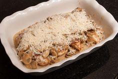 Ovenschotel met kip en champignonroomsaus