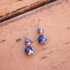 Fair Trade Blue & White Porcelain Earrings - The distinctive Chinese Porcelain features traditional designs, giving these earrings their charm. Handmade by artisans working with the Starfish Project.