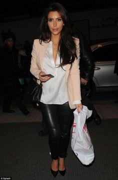 Kim Kardashian wearing Chanel 2.55 Flap Handbag, J Brand Pencil Leg 12 Venom, Gianvito Rossi Pointed Toe Pump, Vince Henley in White and Stella McCartney Slim-Fit Twill Blazer.