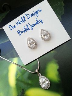 Cute CZ teardrop earring and adjustable necklace sets for bridesmaids by One World Designs Bridal Jewelry.