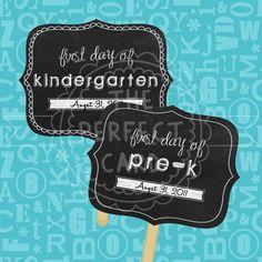 Chalkboard Photo Prop - First Day of School Printable Signs - Boy or Girl - Preschool through Sixth Grade