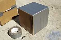 How to make concrete boxes using cardboard and duct tape