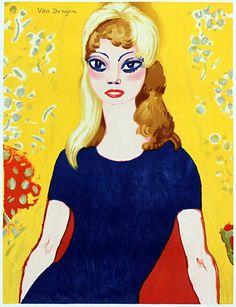 KEES VAN DONGEN - 'BRIGITTE BARDOT- Grote Versie'. De zeldzame grote versie van de litho uit 1964 naar het schilderij dat Van Dongen maakte in 1958. Prachtige proefdruk voor de editie van 50 exemplaren. Gesigneerd in de steen. Afmetingen 96 x 72 cm.