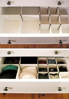 Drawer dividers aren't a necessity for some folks but we love how they make undergarments and accessories a cinch to find. We have our favorite products from Container Store which sort and divide dresser drawers but after seeing Pia's DIY solution—we're thinking it's a great alternative.