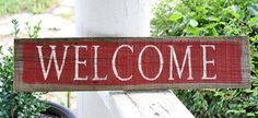 Red & White WELCOME Vintage Wood Sign