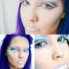 Ice princess Halloween makeup ideas Blue hair