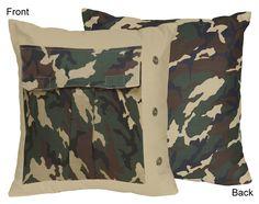 Sweet Jojo Designs Camo Green Collection Decorative Pillow, Multi