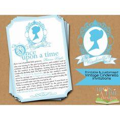Vintage Cinderella Invitation Printable. Cute for any princess party.