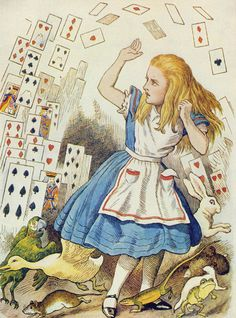 The Shower of Cards, illustration from 'Alice in Wonderland' by Lewis Carroll by John Tenniel