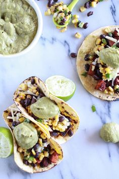 Sweet potato + Chorizo Tacos with Black Bean Salsa and Roasted Poblano Avocado Crema - Half Baked Harvest