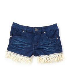 Cutie Patootie Dark Fringe-Trim Denim Shorts - Toddler & Girls | zulily