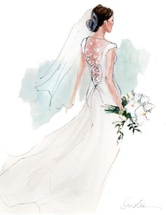 """""""union square"""" gown on a beautiful bride Wedding Dress Drawings, Wedding Dress Illustrations, Wedding Drawing, Wedding Painting, Wedding Illustration, Couple Illustration, Fashion Illustration Sketches, Wedding Art, Fashion Design Sketches"""