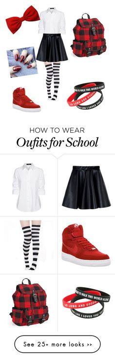 """""""school outfit"""" by blessing200327 on Polyvore featuring Steffen Schraut, MSGM, NIKE and Aéropostale"""