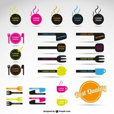 Colorful restaurant logos Free Vector