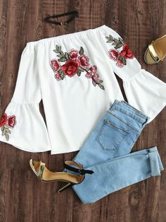 Boho Floral Asymmetrical Top Regular Fit Off the Shoulder Three Quarter Length Sleeve Flounce Sleeve White Bardot Embroidered Appliques Trumpet Sleeve Top Mode Outfits, Casual Outfits, Fashion Outfits, Womens Fashion, Fashion Trends, Look Fashion, Autumn Fashion, Moda Casual, Spring Outfits