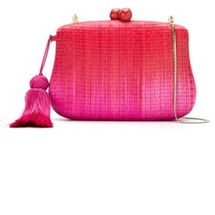 Serpui straw clutch (16,990 DOP) ❤ liked on Polyvore featuring bags, handbags, clutches, purses, red, man bag, red clutches, tassel purse, straw clutches and tassel clutches