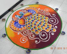I made this on Diwali took me approx.Rangoli Freehand Rangoli: Diwali Rangoli 2010 by bonnydoshi Colorful Rangoli Designs, Diwali Rangoli, Art Forms, Cool Designs, Outdoor Blanket, Kids Rugs, Peacock, Pattern, Home Decor