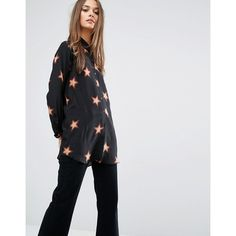 M.i.h Jeans Simple Oversized Shirt With All Over 70s Star Print (£300) ❤ liked on Polyvore featuring tops, multi, silk top, lightweight shirt, silk shirt, tall tops and star print top