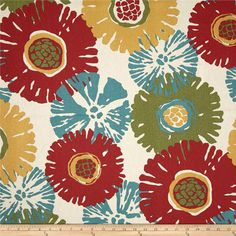 Magnolia Starburst Tropic from @fabricdotcom  Screen printed on cotton duck; this versatile medium weight fabric is perfect for window treatments (draperies, valances, curtains and swags), accent pillows, duvet covers and upholstery. Colors include olive, red, gold, teal and natural.