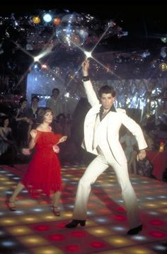 John Travolta and Karen Lynn Gorney in Saturday Night Fever, 1977.