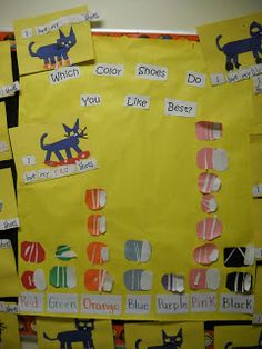 Pete The Cat graphing favorite color shoes.  Give kinders a shoe template to color rather than draw their own.