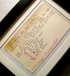 Framed recipes.  I love this idea for my Nana's recipes. Idea for the kitchen... famous family recipes.