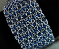 #chainmaille Artisan Beaded Chain Maille Cuff. Czech crystal. from Freya Jewelry on Storenvy