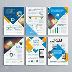 青とオレンジ色の正方形要素と幾何学的なパンフレットのテンプレート デザイン。レイアウトとインフォ グラフィックをカバーします。 ロイヤリティフリークリップアート、ベクター、ストックイラストレーション。. Image 42767954.