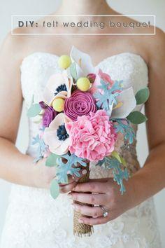 DIY Felt Wedding Bouquet via Something Turquoise