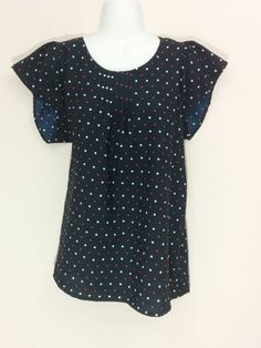Rumor Has It maternity blue polka dots & hearts shirt blouse, Large, #3734…