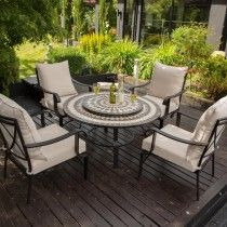 LG Outdoor Casablanca 4 Seat Charcoal Firepit Lounge Set - stylish relaxation