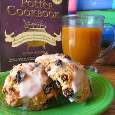 Pumpkin Juice & Lemon-Glazed Rock Cakes - A Harry Potter breakfast for the whole staff! Use the book (pictured here) to find some great recipes. I've made a bunch of them and they've all been fun to make and tasted great!