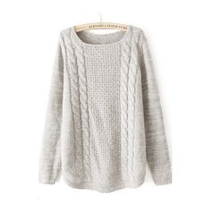 Rotita Round Neck Beige Twist Knitting Wool Sweater ($20) ❤ liked on Polyvore featuring tops, sweaters, shirts, jumpers, beige, collared shirt, collared sweater, long sleeve shirts, long-sleeve shirt and long sleeve pullover sweater