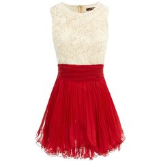 Cream/Red Frill Dress ❤ liked on Polyvore featuring dresses, vestidos, robes, short dresses, ruffle cocktail dress, holiday party dresses, red evening dresses, short party dresses and cocktail dresses