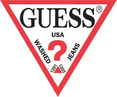 The guess logo is creative because of the question mark and triangle. Also I like that the word GUESS is a serif font and the rest of the words are in a sans serif font. Logo Psd, Logo Branding, American Clothing Brands, Brand Stickers, Vans Logo, Famous Logos, Tumblr Stickers, Clothing Logo, Free Logo