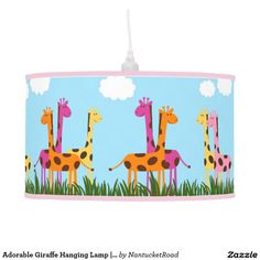 Adorable Giraffe Hanging Lamp | Drum Shade