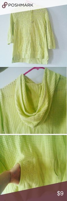 Lime Green Breathable Hoodie Sweater!! Lime Green and very breathable. Has a drawstring hoodie and front pocket.. Rarely worn and no signs of wear!! Christopher & Banks Sweaters