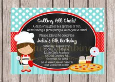 Items similar to PRINTABLE Little Chef Cooking Party Invitation / Baking Party, Cookie Making Party, Cupcakes / Choose Hair Color & Boy or Girl / You Print on Etsy Pizza Party Birthday, 10th Birthday Parties, Birthday Ideas, Luau Birthday, Kids Pizza Party, Kids Cooking Party, Party Invitations Kids, Event Invitations, Sammy