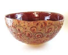Large Pottery Bowl - Punch Bowl - Handmade Red Ceramic Bowl