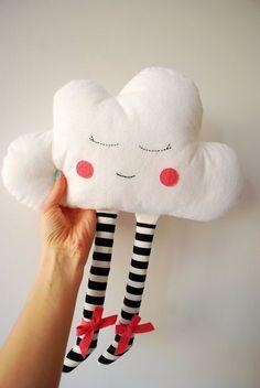 Colchón de almohada nube nube chica de la decoración cuarto de niños almohada nube peluche Happy Cloud vivero Decor enfermera regalo plumas diadema Babyshower regalo